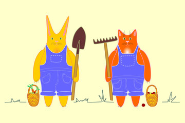 Farm workers cat and rabbit