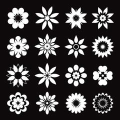 Set of white geometric flowers