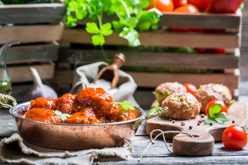 Hot meatballs with tomato sauce