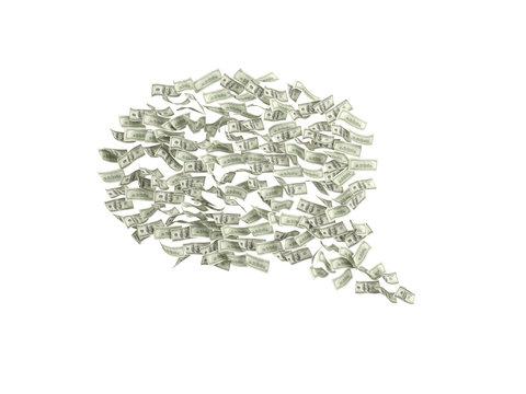 dollar bills in form think box