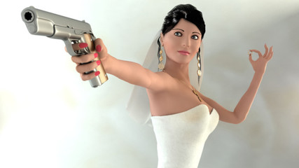 bride with pistol