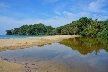 Tropical shore at Punta Uva beach in Costa Rica