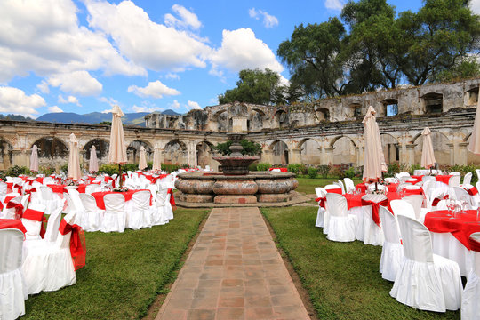 Outdoor wedding venue in Santa Clara ruins, Antigua Guatemala