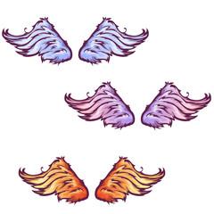 Vector set of cartoon beautiful wings