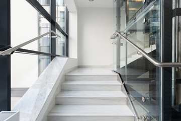 White stairs in business building