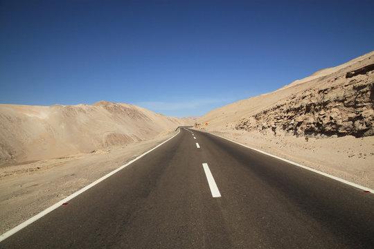Road through the desert. Atacama Desert, Chile