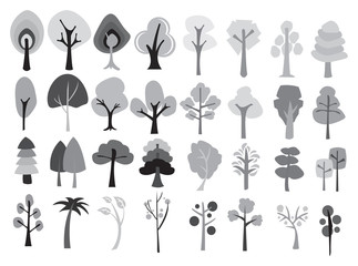 Different Designs of Cartoon Trees in Shades of Grey