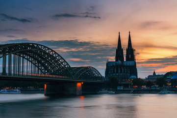 Cologne Cathedral taken in Cologne, Germany during sunset time