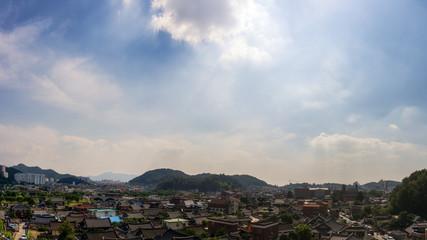 View over Jeonju Hanok Village taken