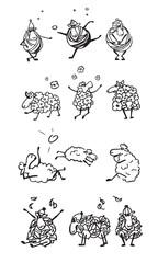 set of  happy sheeps