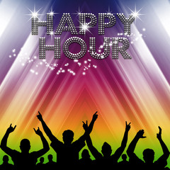 Happy Hour poster rainbow tent