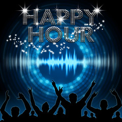 Happy Hour poster blue graphic digital sound