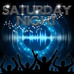 Saturday Night poster blue graphic digital sound