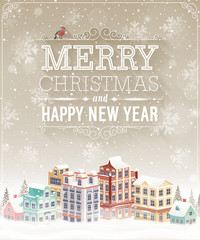 Christmas card with cityscape and snowfall.