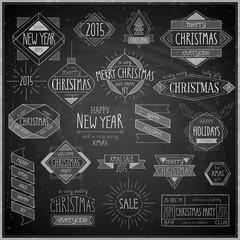 Wall Mural - Christmas hand drawn emblems set - Chalkboard.
