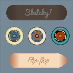 skateboard design elements vector