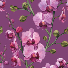 Seamless pattern with watercolor orchid flowers