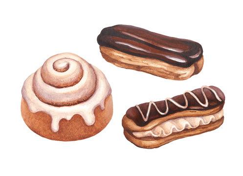 Chocolate eclair and cinnamon bun illustrations