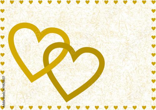 Zwei Goldene Ineinander Verschlungene Offene Herzen Stockfotos Und