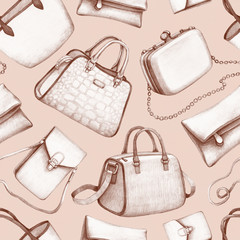 Handbag illustrations. Seamless pattern