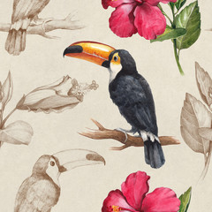 Toucan and hibiscus flower drawings. Seamless pattern