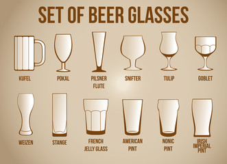 Obraz SET OF BEER GLASSES - fototapety do salonu