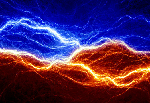 Fire and ice abstract lightning