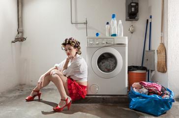 portrait of pretty woman in laundry