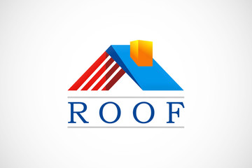 3D house construction roof logo vector
