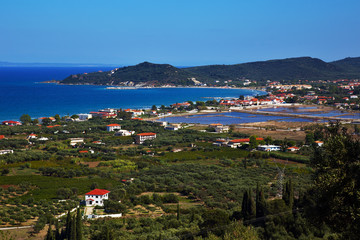 Top view on alykes and salt lakes. Zakynthos. Greece.