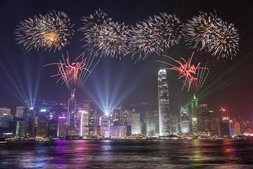 Fireworks Celebration at Hong Kong Victoria Bay