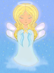 sweet little girl angel Praying