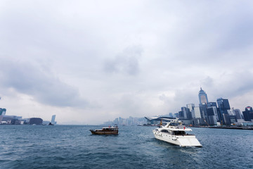 yacht,cityscape and victoria harbor of  hongkong