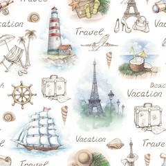 Travel illustrations. Seamless pattern