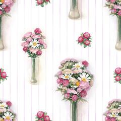 Watercolor wild flowers illustration. Seamless pattern