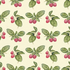Seamless pattern with watercolor raspberry