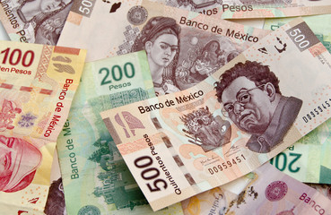 Mexican Peso bank notes background Wall mural