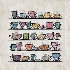 Ornate mugs on shelves, grunge background