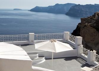 Panorama terrace of Santorini caldera