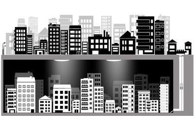 vector city silhouette icon set and underground city