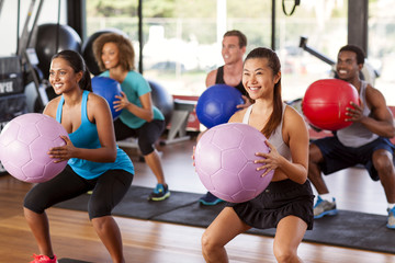 Gym class doing squats
