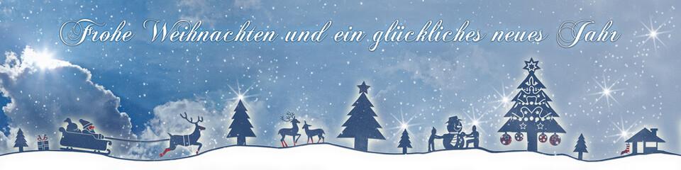 cb35 ChristmasBanner Schnee - deutscher text - 4zu1 wolken g2682