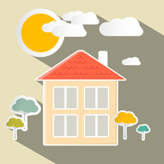 House and Trees Vector Paper Illustration
