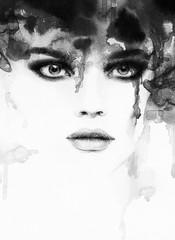 woman portrait  .abstract  watercolor .fashion background - fototapety na wymiar