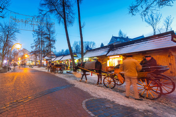 Architecture of Krupowki street in Zakopane, Poland