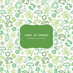 Vector ecology symbols frame seamless pattern background