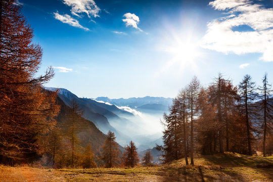 Mountain landscape in autumn: Val d'Aosta, Italy