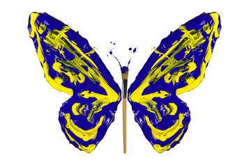 Yellow and blue paint made butterfly