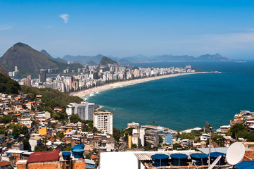 Aerial view of Ipanema Beach and Vidigal Favela in Rio