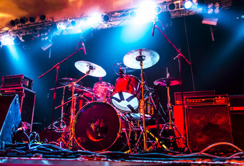Music Instruments, Amplifier, Drums/Guitar on empty stage